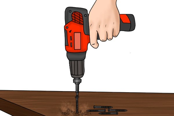 Laying decking with a cordless impact driver