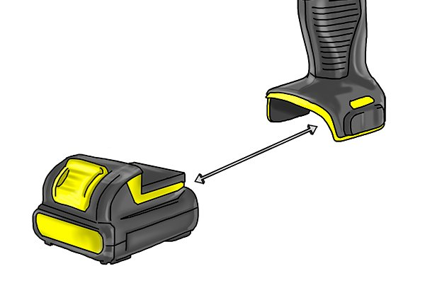 Remove the battery from a cordless drill driver