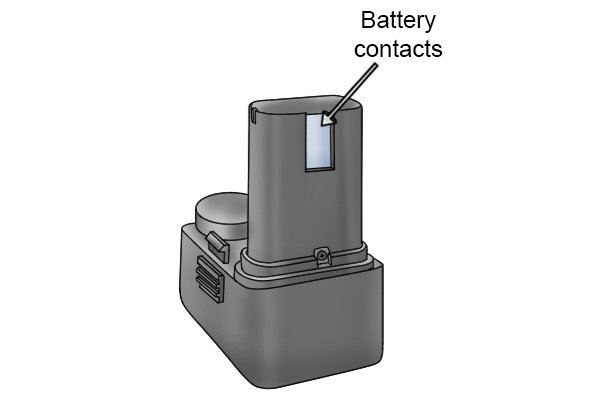 Battery with labelled contacts