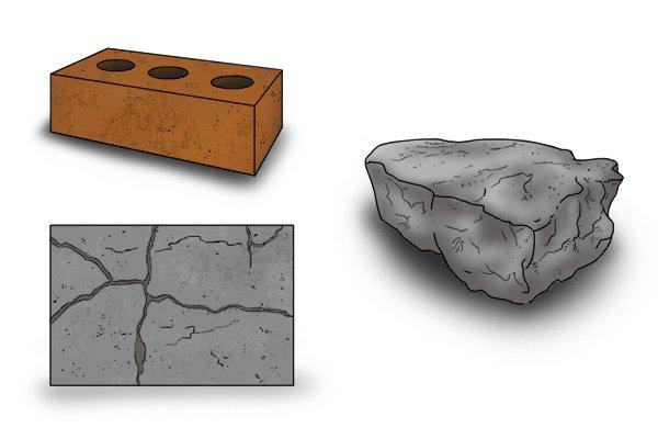 tough materials: brick, concrete and stone
