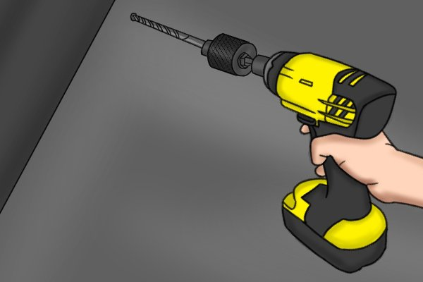 Drilling a pilot hole with a cordless impact driver
