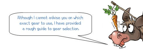 """Wonkee Donkee says """"Although I cannot advise you on which exact gear to use, I have provided a rough guide to gear selection."""""""