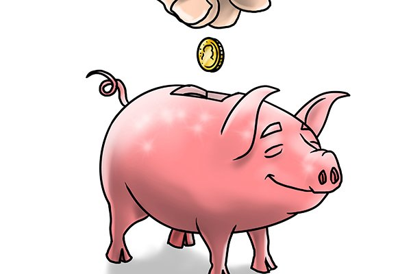 Piggy bank with a coin being added