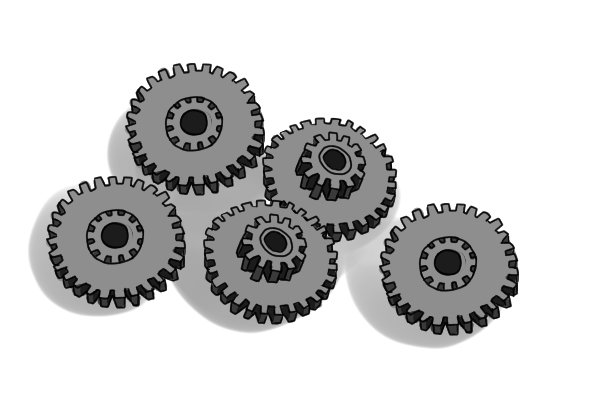 Different sizes and types of metal gears