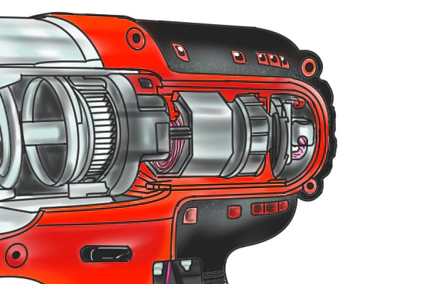 Gears inside a cordless impact driver