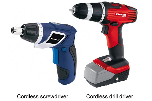 Blue cordless screwdriver and a red cordless drill driver