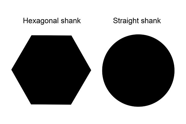 Front view of a hexagonal and straight shank bits