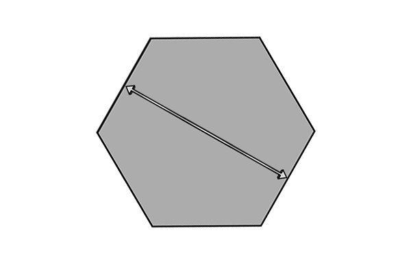 Grey hexagon with a double ended arrow across the centre