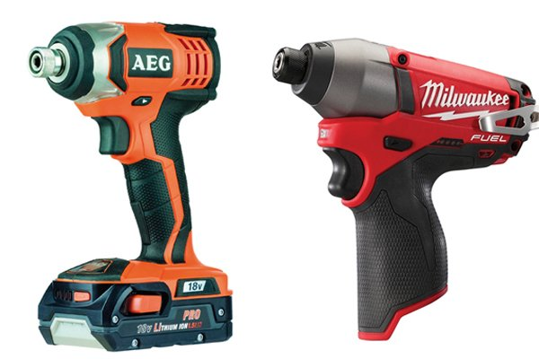 Two cordless impact drivers with different chucks