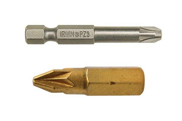 Bronze small screwdriver bit and a large gold screwdriver bit