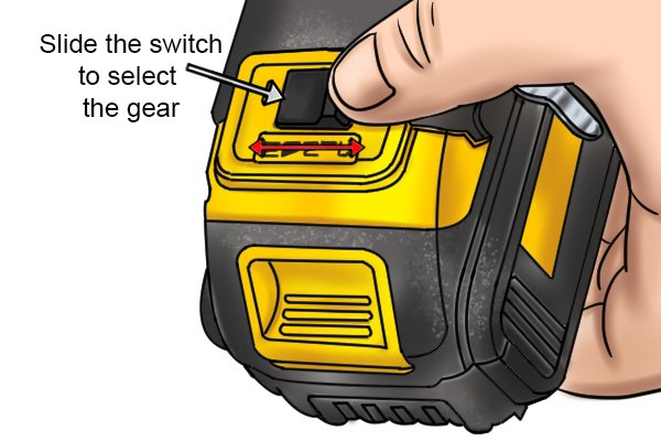 Slide the switch to select the gear