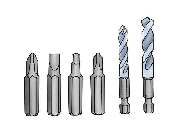 Drill bits and screwdriver bits