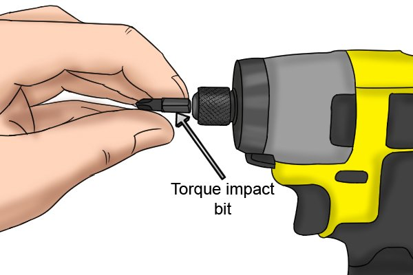 Impact bits in a cordless impact driver