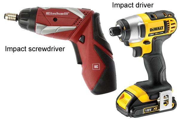 cordless screwdriver, cordless impact driver