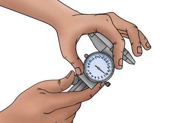To recalibrate your caliper, loosen the bezel nut underneath the dial then rotate the dial until the needle is pointing to zero.
