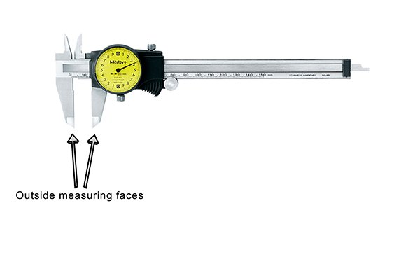 Dial calipers are most commonly used to measure outside distances such as width, length or diameter. These distances are measured using the outside measuring faces of the caliper, the lower jaws.