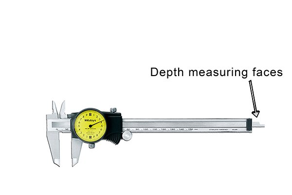 Depth can be measured by inserting the depth rod into the hole you are measuring. When you adjust the jaws using the thumb screw, the rod will protrude from the end of the caliper.