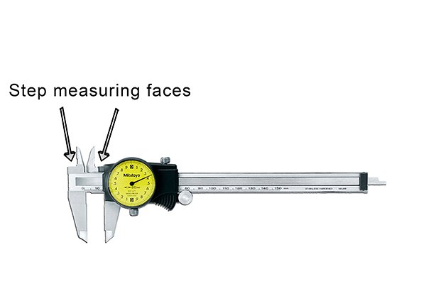 The head of the caliper and the face of the right-hand upper jaw are used to take step measurements.