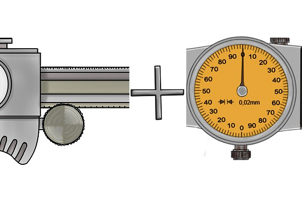 The reading on a dial caliper is a combination of the value shown on the main beam scale and value indicated on the dial.