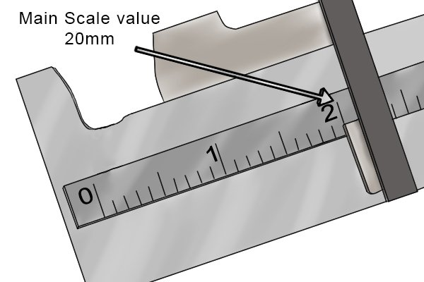 Step 1 When taking measurements, you should first read the value on the main scale. This will be the number immediately to the left of the reference edge. On a metric dial caliper, this will be given in millimetres (mm). Each increment on the scale is equal to 1mm.