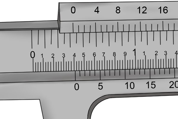 Imperial vernier calipers have a main scale graduated in inches and tenths of inches. Each tenth of an inch is further subdivded into four increments, each of which is 0.025 inches long.