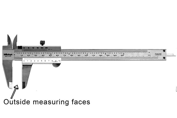 Vernier calipers are most commonly used to measure outside dimensions such as width, length or diameter. These distances are measured using the outside measuring faces of the caliper, the lower jaws.