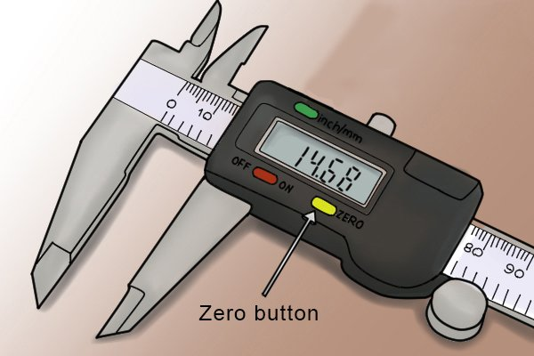 The zero button enables the user to zero the caliper at any point. This features makes calibration much more straight forward than with other types of caliper. Taking comparative measurements is also easier. Simply measure the reference object, press zero then measure the object to be compared. The value displayed will be difference between the two dimensions.