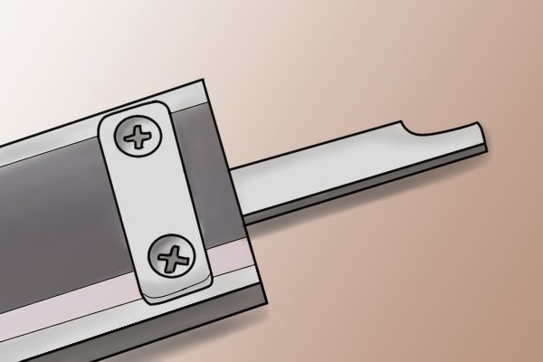 The depth rod is used for measuring the depth of holes. It protrudes when the thumb screw is turned.