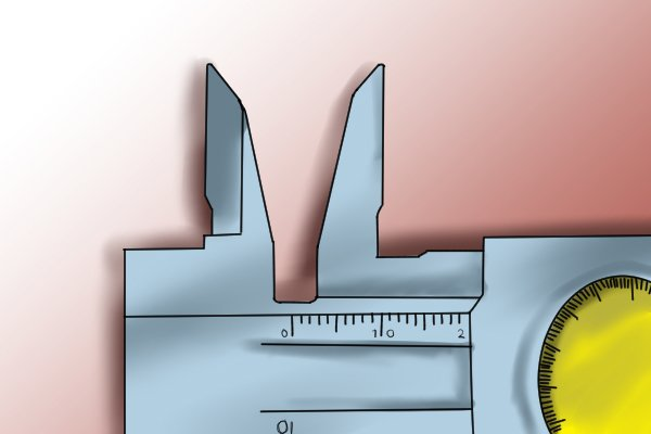 The upper jaws of a caliper are used for taking inside measurements such as the diameter of a hole or slot.