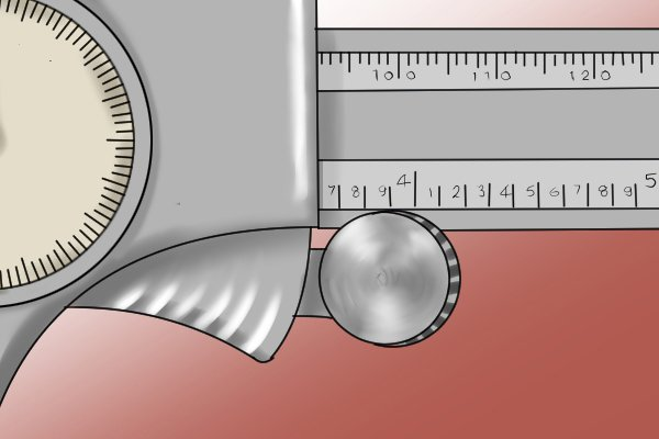 The thumb screw is used to precisely adjust the measuring faces of the caliper (both sets of jaws and the depth rod). It helps the user to get a tight grip on the material they are measuring.