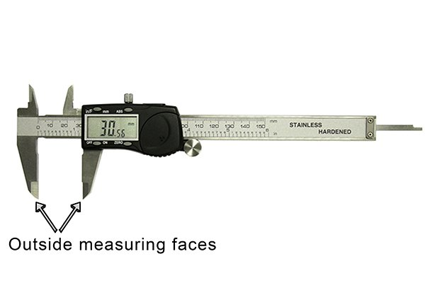 Electronic (or digital) calipers are most commonly used to measure outside distances such as width, length or diameter. These distances are measured using the outside measuring faces of the caliper, the lower jaws.