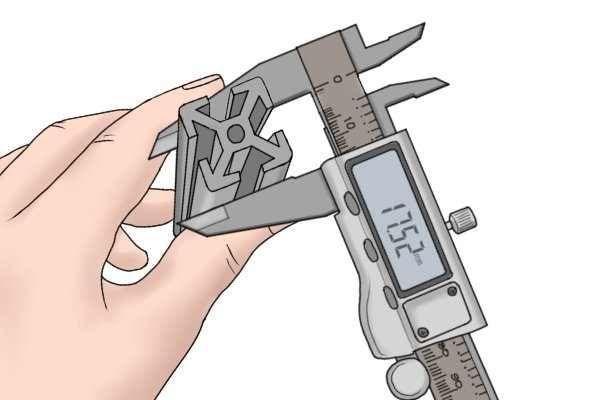 Step 1 Hold the object you are measuring in one hand, and tighten the lower jaws around the object by adjusting the thumb screw with your other hand.