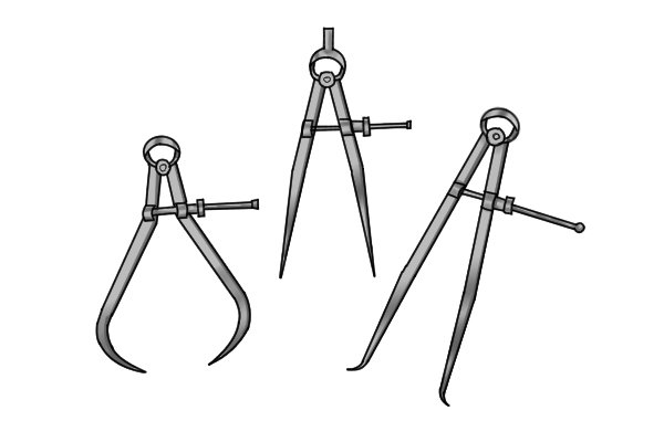 A spring joint caliper is a measuring instrument consisting of two legs, a spring, and an adjusting nut. The friction of the screw and adjusting nut counteracts the tension of the spring which determines the position of the legs.