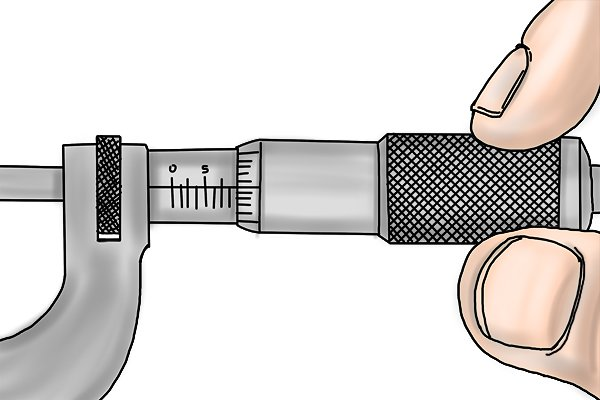 Each time the thimble is turned and the spindle makes a complete revolution, the distance between the measuring faces of the micrometer (the anvil and the spindle) increases or decreases by the length of the thread pitch. The circular movement of the thimble is directly related to the linear movement of the spindle.