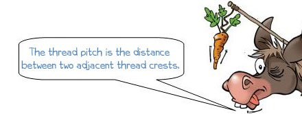 Wonkee Donkee says: 'The thread pitch is the distance between two adjacent thread crests.'