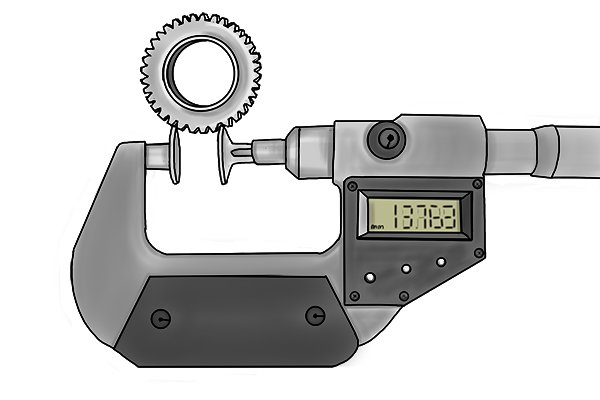 The measuring faces of disc micrometers are disc-shaped to allow the measurement of shrouded features such as gear teeth.