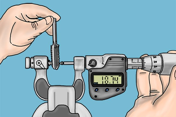 Screw thread micrometers are used to measure the pitch diameter of a screw. The pointed spindle and double-v anvil are designed to contact the screw thread.