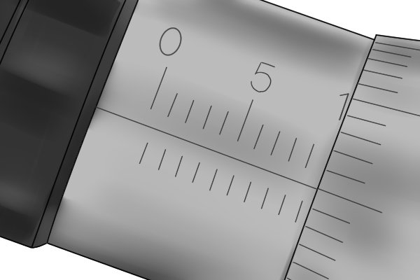 The sleeve scale of a metric micrometer has a measuring range of 25mm. It is graduated in millimetres and half millimetres. The scale is numbered every 5mm.