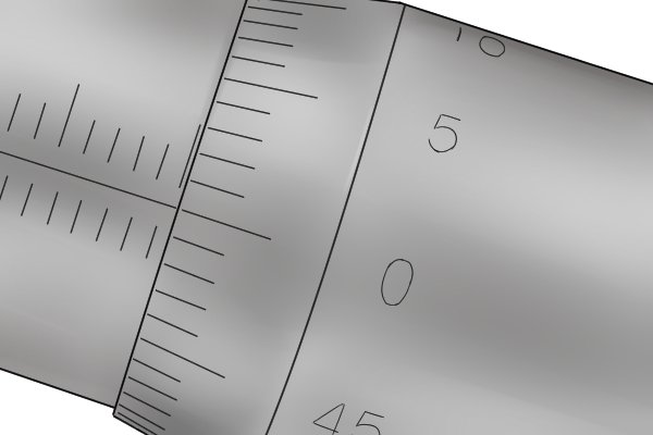 The thimble scale has a measuring range of 0.5mm (the smallest value that can be measured on the sleeve scale). It is divided into 50 increments, with each increment representing 0.01mm (0.5 ÷ 50 = 0.01). The scale is numbered every 0.05mm.