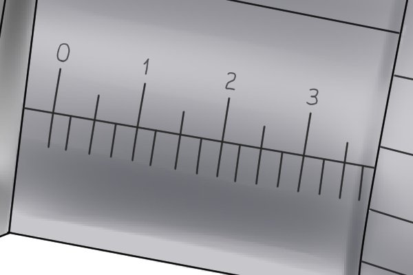 The sleeve scale of an imperial micrometer has a measuring range of 1 inch. It is divided into increments of 0.025 inches and is numbered every 0.1 inches.
