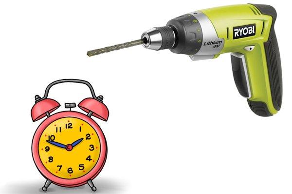 Clock and cordless screwdriver