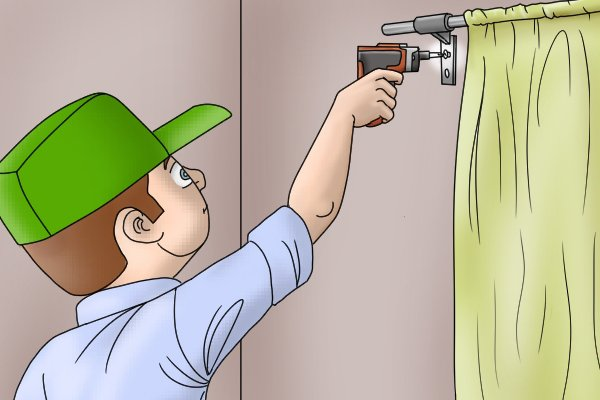 cordless screwdriver being used on curtain hook
