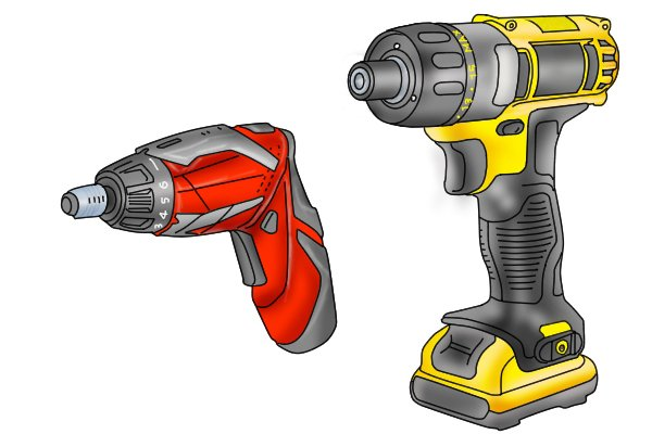 small and large cordless screwdrivers