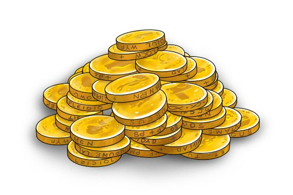 Pile of gold coins