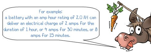 Wonkee Donkee says; For example: a battery with am amp hour rating of 2.0 AH can deliver an electrical charge of 2 amps for the duration of 1 hour, or 4 amps for 30 minutes, or 8 amps for 15 minutes.