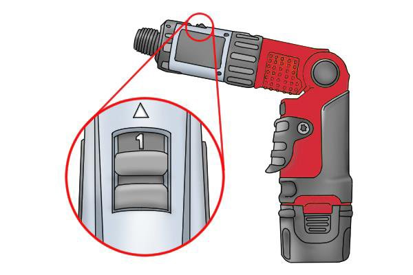 Gear switch on top of cordless screwdriver