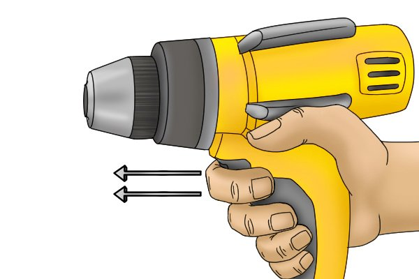 Release speed control trigger on cordless screwdriver