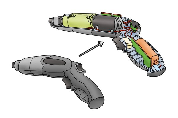 Inside of a cordless screwdriver