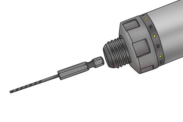Insert drill bit into cordless screwdriver