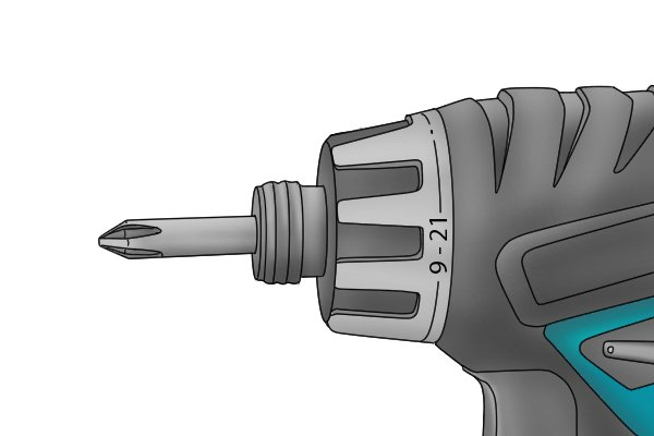 Close up of cordless screwdriver and screwdriver bit